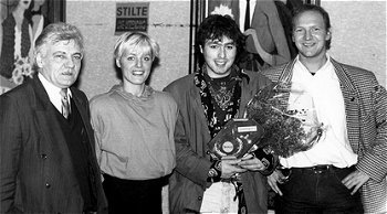 Achiel Vanhees, Dana Winner, Joppe Steengoed en Luc Moons in 1993.